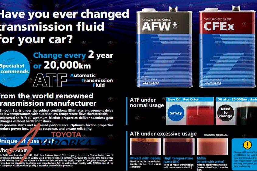 Рекомендации по замене масла в АКПП компании Aisin для Lexus